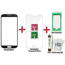 iTG® PREMIUM Juego de reparación de cristal de pantalla para Samsung Galaxy S4 Negro - Panel táctil frontal oleofóbico para i9500 i9505 i9515 LTE + Protector en vidrio templado, 3M Adhesivo precortado y iTG® Juego de herramientas