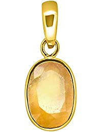 6.25 Ratti Yellow Sapphire Pendant / Locket ( Pukhraj Stone Panchdhatu Pendant) (Yellow, Gold Plated)