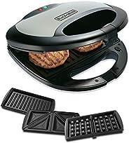 Black+Decker 750w 3 In 1 Sandwich, Grill And Waffle Maker, Black/Silver - TS2090-B5