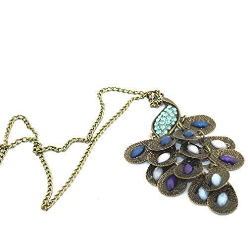 Yeucan Peacock Retro Pullover Halskette böhmische Imitation Kristall Diamant-Halskette, königsblau (Imitation Diamant-halskette)