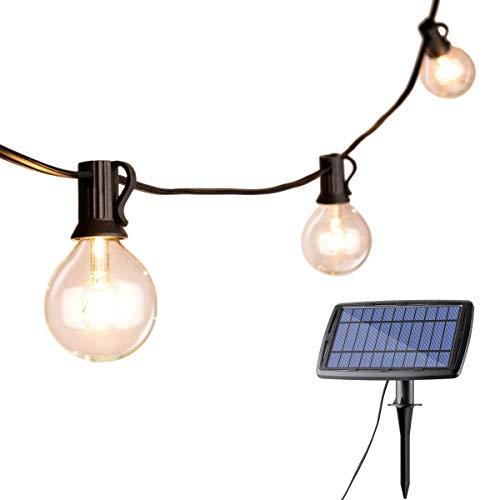 G40 Lichterkette für den Außenbereich, Lichterkette Vintage mit Solarmodul LED Lichterkette, wasserdichte Lichterkette mit klaren Glühlampen für eine Party, Weihnachten, Garten, Veranda usw