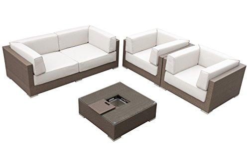 Maze Rattan mon-702510Monaco Tief Platz Sofa-Set mit Luxus Rundum Ice Bucket Couchtisch in einem Geflecht-gemischt braun -