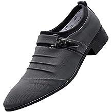 Zapatos Hombre,Zapatos Casuales Hombres Puntiagudos Zapatos de Lona Formales Zapatos de Negocios de Moda