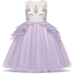 NNJXD Vestido Unicornio de Flor Volantes de Boda y Fiesta Princesa Muchacha Talla (100) 3-4 Años Púrpura
