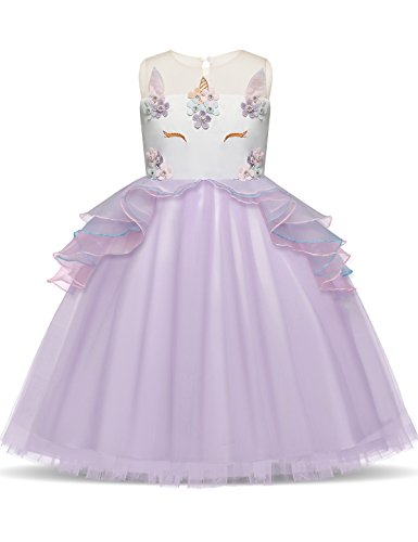 NNJXD Girls Unicorn Party Flower Cosplay Wedding Halloween Fancy Princess Dress for Photo Shoot