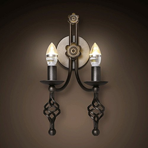 Industrielle Eisen Wandleuchte, Nordeuropa 2 LED-Kerzen, dekorative Wand hängende Lampe Retro moderne Esszimmer Flur Studie Wandleuchte post-modernen Wohnzimmer Schlafzimmer Cafe Wandleuchte -