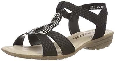 Womens R3641 T-Bar Sandals, Schwarz/Schwarz/02, 4 UK Remonte