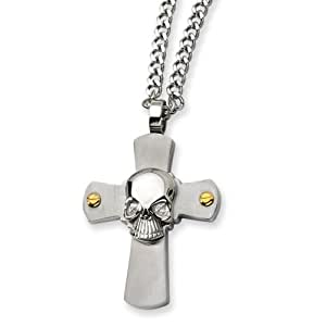 Black Bow Jewellery Company : Men's Stainless Steel Skull on Cross Necklace
