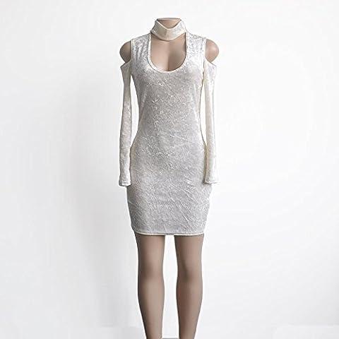 Long White Halter Dress - JiZhi Femmes jupe en velours / Long