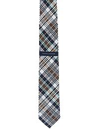 Tommy Hilfiger Men's Linen and Silk Blend Tie (Madras - Pink)