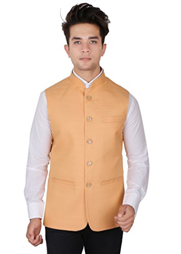 La Rainbow Casual Silk Blend Peach Nehru Jacket For Men/Boys