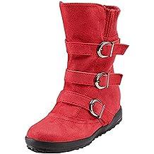 Botas Mujer Invierno Calentar Piel Forro Planos Botines Nieve Ante Botita  Medianas Ankle Boots Antideslizante Elásticos 0499a8d83f0c5
