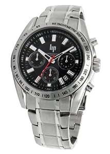 lip 10510252 montre homme quartz analogique cadran noir chronographe bracelet en. Black Bedroom Furniture Sets. Home Design Ideas