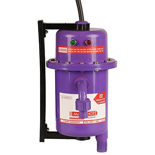Mr.SHOT Instant Running Water Heater Made of First Class ABS Plastic / Auto Reset Model / Color Violet