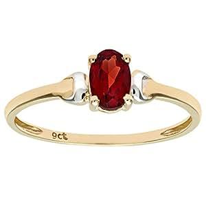 Citerna 9 ct Yellow and White Gold Garnet Birth Stone Ring - Size H