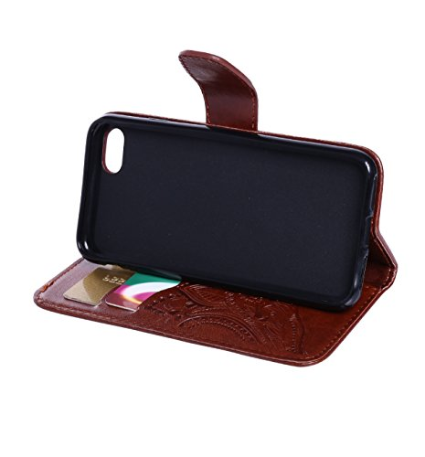 iPhone 7 Lederhülle, Aeeque® iPhone 7 Lila Brieftasche Flip Case Cover,[Retro Traumfänger Bilder] Kartenfach Standfunktion Handytasche für iPhone 7 mit Abnehmbar Handy Lanyard und Weich Silikon Innere Blume Braun