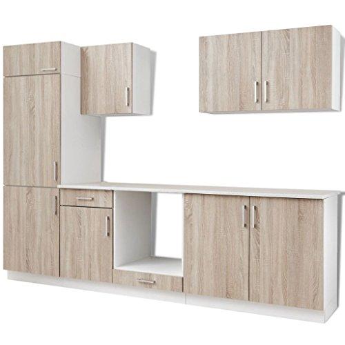 Vidaxl armadietto mobili cucina componibile colore quercia unità frigorifero 7pz