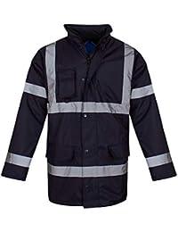 shelikes Hi Vis Viz Visibility Parka Workwear Security Safety Fluorescent  Hooded Padded Waterproof Work Wear Jacket 03497bcfaf