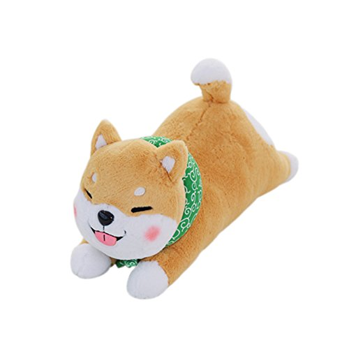 YINGGG Kuscheltier Shiba Inu Plüsch Hund Tiere Kissen Spielzeug für Kinder und Erwachsene,braun (60cm Braun Augen Geschlossen)