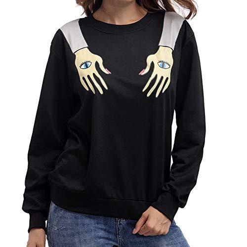 Langarmshirts Damen Pullover Bluse Frauen Mode T Shirt Persönlichkeit Bluse Arm Karte Drucken Shirt Casual Halloween Langarm Shirts ABsoar