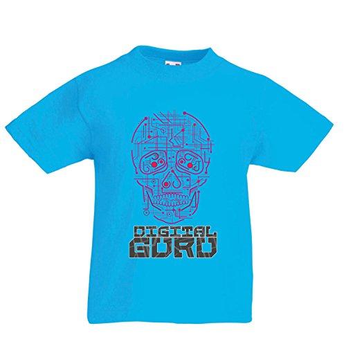 Kinder Jungen/Mädchen T-Shirt Der Digitale Guru - technologische, Computer, Programer oder Gamer Geschenkideen (3-4 Years Hellblau Mehrfarben)