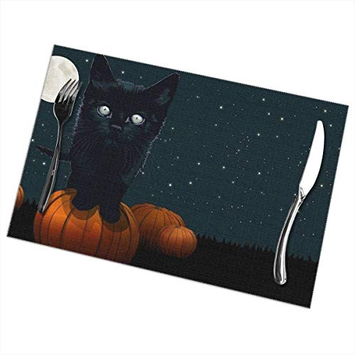 tle Black Cat Round Moon Tischsets Set of 6 for Dining Table Washable Polyester Placemat Non-Slip Heat Resistant Kitchen Table Mats Easy to Clean 1218inch ()