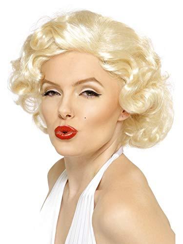 Luxuspiraten - Kostüm Accessoires Zubehör 60er Jahre Damen Bombshell Marylin Monroe Perücke Wig, perfekt für Karneval, Fasching und Fastnacht, Natur