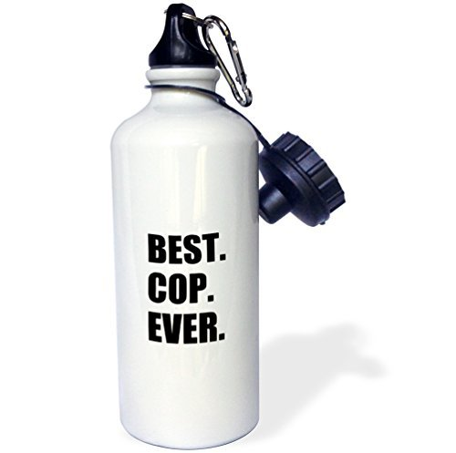 Sports Water Bottle Gift, Best Cop Ever Fun Gifts For Worlds Greatest Police Officer White Stainless...