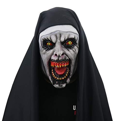 WZMHBMJ Halloween Requisiten Rolle Spielen Nonne Horror Maske Mit Kostüm Halloween Dekoration Im Freien - Nonne Kostüm Mit Maske