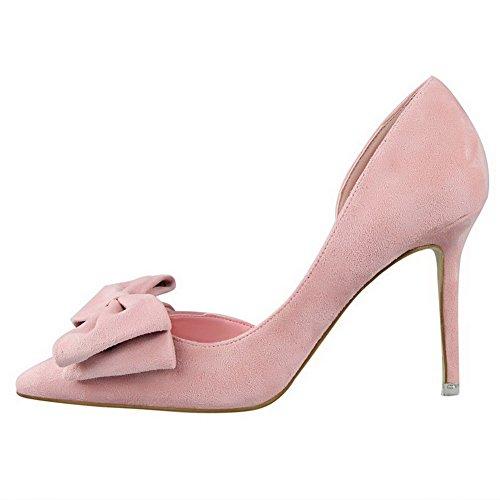 AalarDom Femme Tire Stylet Couleur Unie Pointu Chaussures Légeres Rose-Nœuds à Deux Boucles