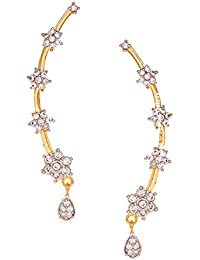 Jewels Galaxy Gold Plated Floral AD Designer Earcuffs - Pair Of 1
