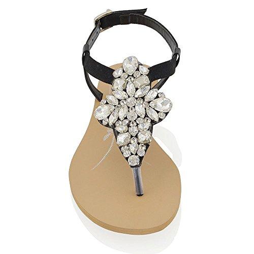 Essex Glam Sandalo Donna Vacanze Infradito T-Bar Finto Diamante Nero