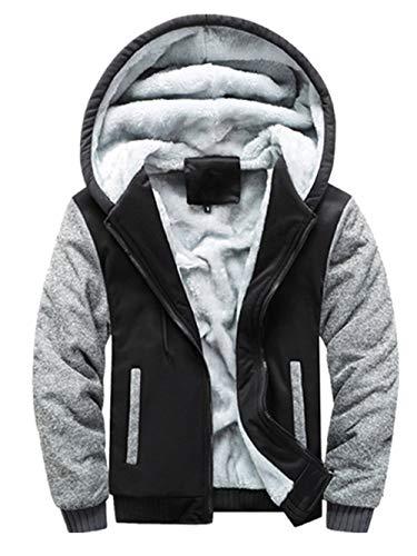 MRULIC Herren Hoodie Pullover Winter Warme Fleece Jacke Zipper Sweater Jacke Outwear Mantel RH-054 (EU-42/CN-M, Y2-Schwarz)