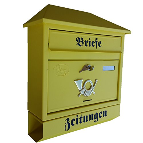 Naturholz-Schreinermeister Großer Briefkasten/Postkasten XXL Gelb Matt mit Zeitungsrolle Trapetzdach Zeitungsfach Zeitungsrohr