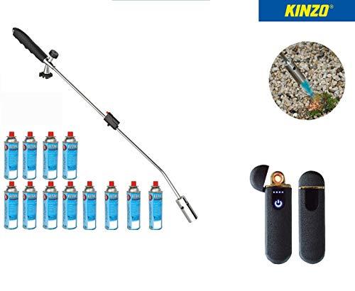 Kinzo Unkrautbrenner Unkrautvernichter 80cm inkl 12 Butangaskartuschen je 227g, Gasbrenner mit Piezozündung, Abflammgerät max 1000 °C, Brenner Flamme Regulierbar Ideal als Grillanzünder Shisha