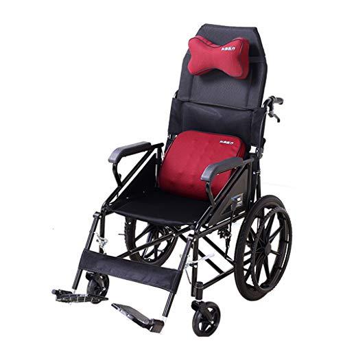 CMCL Faltbarer Rollstuhl mit Verstellbarer Rückenlehne, verstellbare Kopfstütze Tragbarer Multifunktionsrollstuhl für ältere Menschen