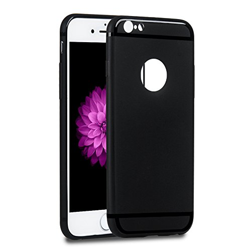 YOKIRIN Coque iPhone 6 4.7 Pouces Housse Étui TPU Silicone Souple Découp du Logo Phone Case Cover Ultra Mince Gel Slim Personnalité Pratique - Semi-transparent + Noir Semi-transparent + Noir