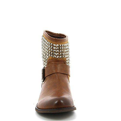 Ideal Shoes - Bottines bi-matière ornée de strass avec ceinturon April Camel