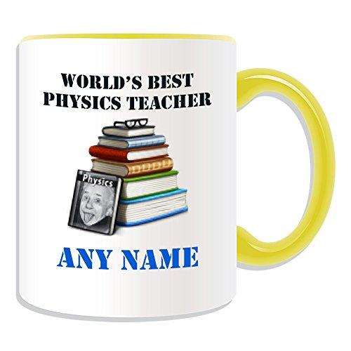 chenk–World 's Best Physik Lehrer/Einstein Bücher Tasse (Akademischer Design Thema, Farbe Optionen)–Jeder Name/Nachricht auf Ihr Einzigartiges–Schule College Universität–Wissenschaft Gläser, keramik, gelb (Physik-lehrer-geschenke)
