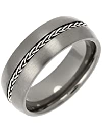 Theia Titanium and Silver Inlay Court Matt Chain 8 mm Ring