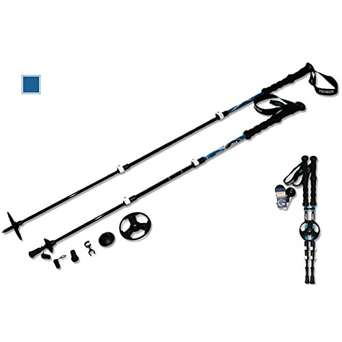 Onezi 4 Schichten of Piano Paint Carbon Fiber Trekking Pole Trekkingstock Gehstock Alpenstocks Outer Locking Plus Samt Handgelenkriemen Anti-Schock-System Telescopic Poles for Trekking und Wanderungen blue£¨a pair£©