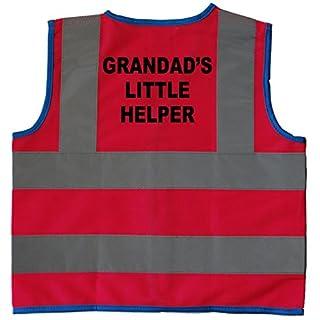 Grandad's Little Helper Baby/Children/Kids Hi Vis Safety Jacket/Vest Size 1-2 Years Pink Optional Personalised On Front