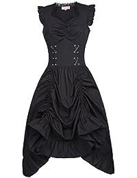 Belle Poque Femme Gothique Déguisement Robe Halloween avec Jupe Robe en Coton Col V sans Manche pour Fête FR364