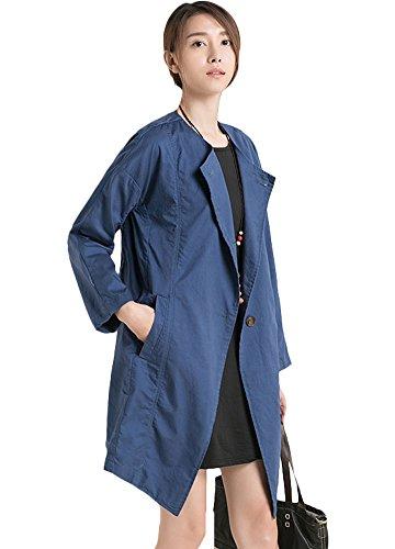MatchLife Femme Col à boutons Parkas Manteau Bleu