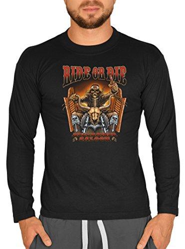 Langarm Herren T-Shirt USA Biker Motiv Ride or Die Bike Langarmshirt für Biker Rock Longshirt für Männer Männershirt Laiberl Leiberl Schwarz