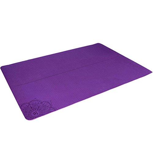 Gymnastikmatte aus TPE-Anti-Rutsch-Yogamatte, vergrößert 120 cm, doppelte Fitness-Matte, Yogamatte, 120 x 183 cm violett