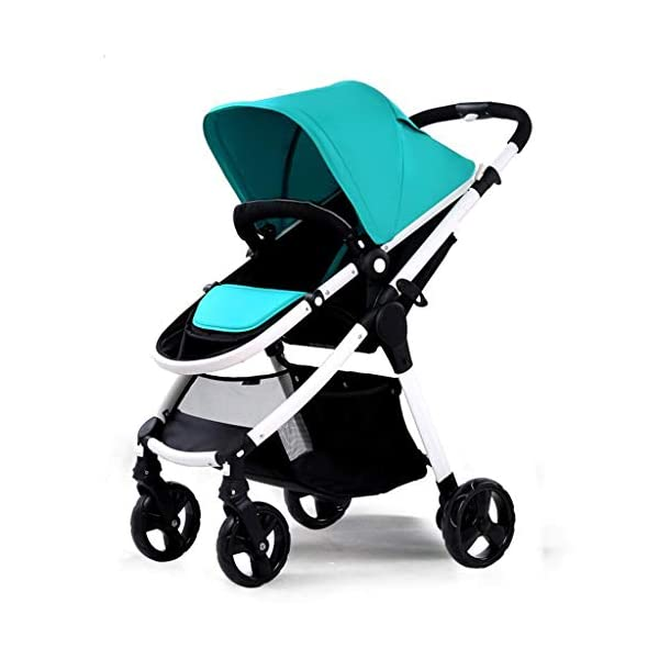 Comfortable prams Baby Stroller High Landscape Can Sit Horizontal Portable Folding Two-Way Shock Absorber Stroller Newborn Four Seasons Universal Travel (Color : Green) CAR 2. Adjustable awning, wide breathable, waterproof. 3. Adjustable pedals. 1. Stepless backrest adjustment, rotary button design. 1