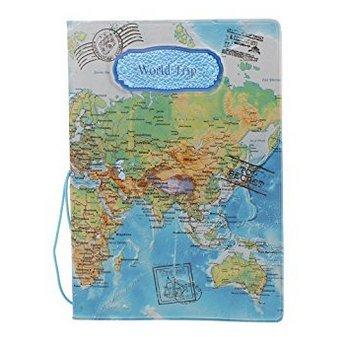 5 cinq Mode couvertures de passeport timbres enveloppe Ensemble de documents de voyage Fournitures (Usa001) bleu