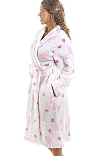 Camille - Bademantel aus extra-weichem Fleece - Muster aus rosa Schleifen & Herzen - Weiß Rosa