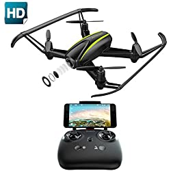 Potensic Drone U36W con Control Remoto, Función de Estabilización de Altitud, WiFi FPV 2.4Ghz Cámara HD Tarjeta SD 4G, Funciones de Aterrizaje y Despegue y Alarma de Fuera Límite de Vuelo Antiperdida